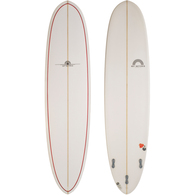 HOT BUTTERED 7'6 WHITE PINLINE EPOXY FUNBOARD
