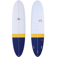 HOT BUTTERED FUNBOARD 7'6 NAVY ORANGE TAIL DIP EPOXY