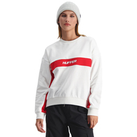 HUFFER WOMENS VANCITY SLOUCH CREW WHITE/RED