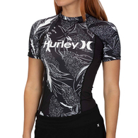 HURLEY 2019 WOMENS DOMINO SHORT SLEEVE RASH VEST OIL GREY