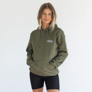 HYPER RIDE UNISEX BADGE HOODIE MILITARY GREEN
