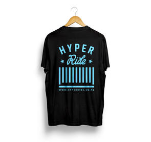 HYPER RIDE CENTER LOGO TEE BLACK WITH BLUE PRINT