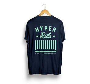 HYPER RIDE CENTER LOGO TEE NAVY WITH MINT PRINT