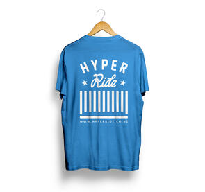 HYPER RIDE LOGO TEE BRIGHT BLUE WITH WHITE PRINT