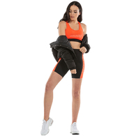 ILABB WOMENS FLASH SPORTS BRA BLACK ORANGE