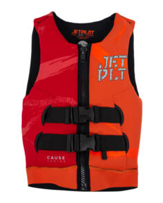 JETPILOT 2021 CAUSE F/E YTH NEO VEST SHARK ORG/RED L50