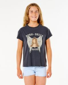 RIP CURL BORN AT BELLS TEE - GIRL WASHED BLACK