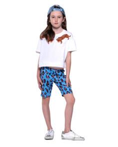 THE GIRL CLUB LEOPARD PRINT BIKER SHORTS BLUE