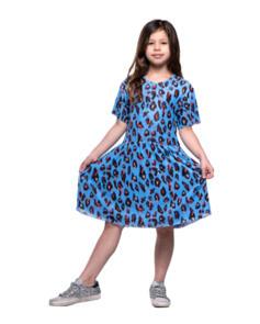 THE GIRL CLUB LEOPARD PRINT PLAY T SHIRT BLUE