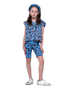 THE GIRL CLUB LEOPARD PRINT V DETAIL TANK BLUE