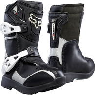 FOX RACING BOYS COMP 5K PEE WEE BOOTS [BLACK/SILVER]