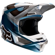 FOX RACING YOUTH V1 MOTIF HELMET [BLUE/GREY]