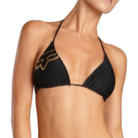 FOX RACING WOMENS FIRST CLASS STRING TRIANGLE BIKINI TOP [BLACK]