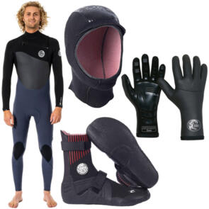 RIP CURL WETSUITS 2021 FLASHBOMB + 3MM BOOTIES + HOOD & GLOVES
