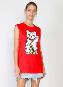 FEDERATION WOMENS MINUTE TANK BIG LUCK RED