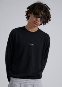 AFENDS SOCIETY - UNISEX RETRO FIT LONG SLEEVE TEE - BLACK