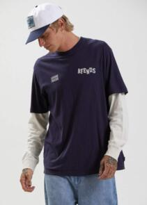 AFENDS MAX RELAX - HEMP RETRO FIT TEE - NAVY
