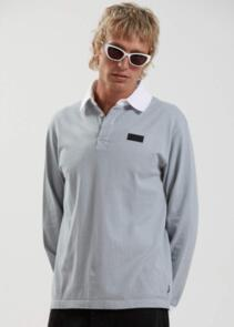AFENDS KELLY - ORGANIC LONG SLEEVE POLO - SHADOW