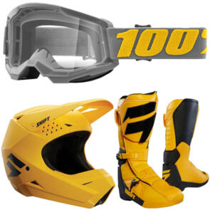 SHIFT MELLOW YELLOW HELMET + BOOTS + GOGGLES PACKAGE