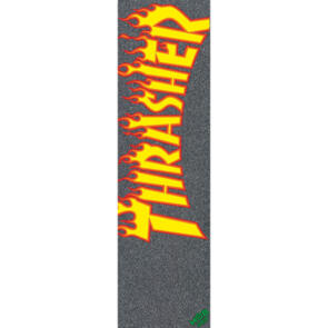 "MOB GRIP THRASHER YELLOW AND ORANGE FLAME 9"" X 33"