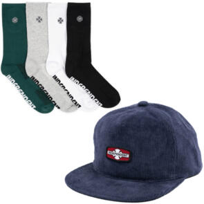 INDEPENDENT O.G.B.C RIGID CORD SNAP + CROSS EMBROIDERY SOCK