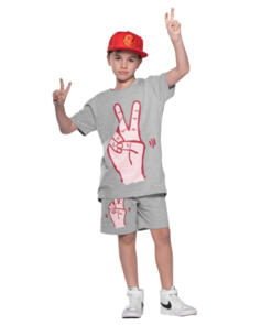 BAND OF BOYS PEACE SCOOP BACK TEE MARLE GREY