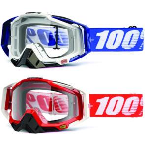 100% 2020 RACECRAFT MOTO GOGGLE COBALT BLUE & FIRE RED