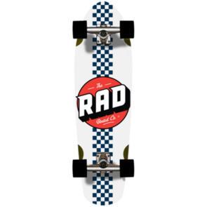 """RAD BOARD CO CALI CRUISERS CHECKER STRIPE - WHITE / NAVY - 9.125"""""""" X 32"""""""""""