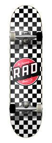 RAD BOARD CO CHECKERS COMPLETE SKATEBOARD BLACK|WHITE 7.75