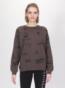 FEDERATION WOMENS RELAX CREW - SCRIBBLE CHARCOAL