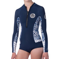 RIP CURL WETSUITS 2019 JNR.GIRL GBOMB SUB L/SL 1MM SPRING BLUE WHITE