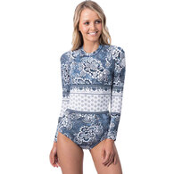 RIP CURL WETSUITS 2019 WOMENS GBOMB L/SL BZIP UV SURFSUIT DARK BLUE
