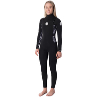 RIP CURL WETSUITS 2020 WOMENS D/PATROL 43GB C/ZIP BLACK GREY