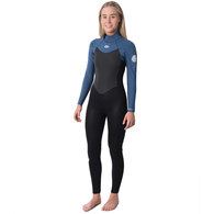 RIP CURL WETSUITS 2020 WOMENS OMEGA 43GB BZ STEAMER BLUE