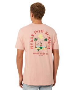 SWELL RELAX INTO SS TEE CORAL DUST