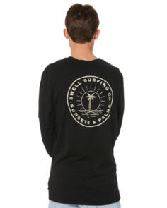 SWELL SUNSETS & PALMS LS TEE BLACK