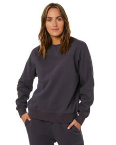 SWELL WOMENS ELISE PANELLED CREW WASHED BLACK