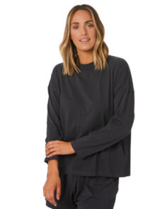 SWELL WOMENS RISING MOON LS TEE WASHED BLACK