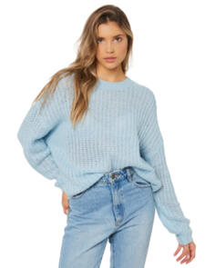 SWELL WOMENS SOLACE KNIT SWEATER SOFT BLUE