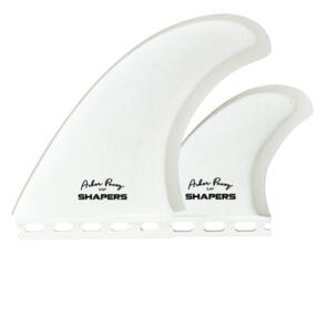 "SHAPERS AP 5.59"" WHITE CLEAR S-TAB TWIN FIN (PRO GLASS)"