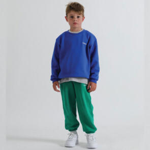 SONNIE COBALT BLUE CREW AND COURT GREEN SWEATPANTS