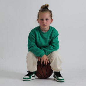 SONNIE COURT GREEN CREW AND BUTTERCREAM SWEATPANTS