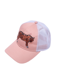 THE GIRL CLUB EMBROIDERED TIGER MESH TRUCKER CAP PINK