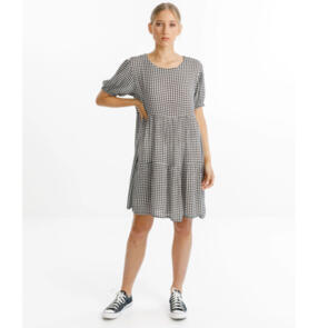 THING THING WOMENS WHIRL DRESS - BLACK GINGHAM
