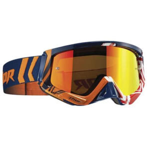 THOR MX GOGGLES SNIPER GEO NAVY ORANGE INCLUDES SPARE CLEAR LENS