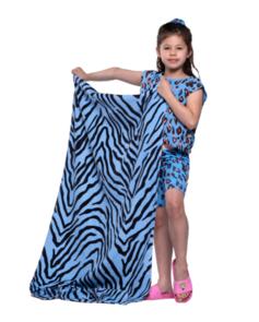 THE GIRL CLUB TIGER STRIPE FLAT BEACH TOWEL BLUE