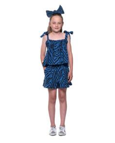 THE GIRL CLUB TIGER STRIPE BOW DETAIL TANK BLUE