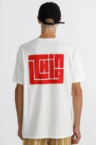 THING THING SS TEE - 100% COTTON - WHITE WITH RED BLOCK PRINT