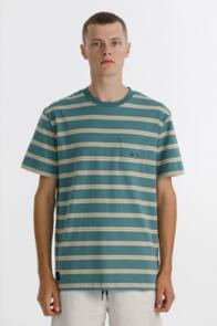 THING THING MAX POCKET TEE - TURQUOISE STRIPE WITH CHEST
