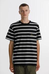 THING THING MAX POCKET TEE - BLACK STRIPE WITH CHEST EMBROIDERY